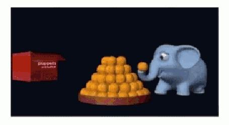 Анимация Слоник дарит нам ладду с хоботом и появляется надпись Happy Diwali / индийский паздник