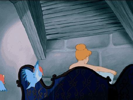 Анимация Птички принесли воду, которая выливается на золушку, Disney Cinderella / Диснеевская принцесса