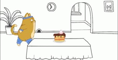 Анимация Кот Теодор подходит к столу и берет торт, мультсериал Дневник кота Теодора