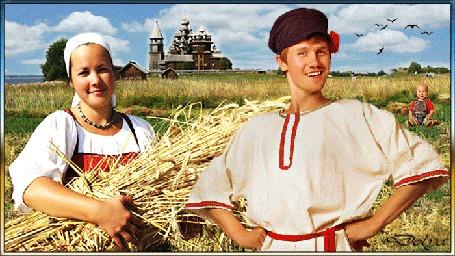 Анимация Мужчина и девушка в поле собирают хлеб на хлебный спас, поодаль сидит ребенок, вдали виднеется церковь над которой плывут облака