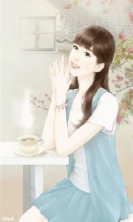 Анимация Девушка с коричневыми волосами сидит за столиком, на котором стоит чашка чая, под ветками сакуры во дворе своего дома