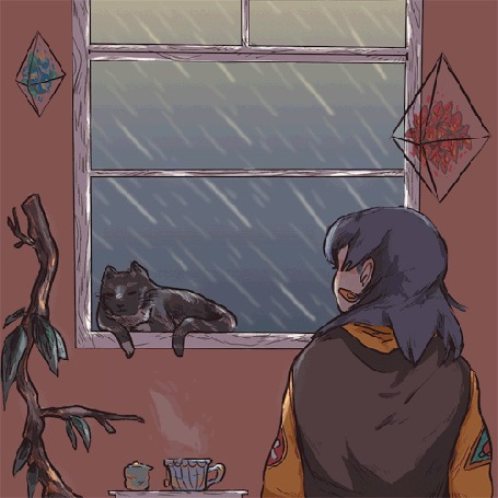 Анимация Девушка смотрит на дождь за окном