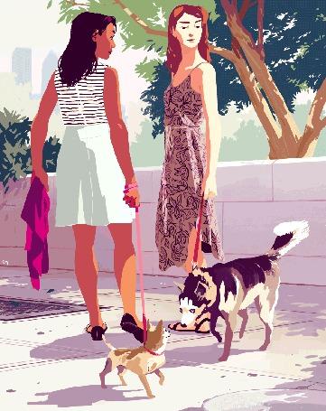 Анимация Две девушки с собаками на поводках