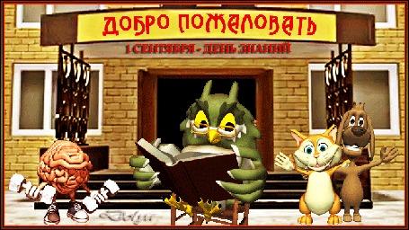 Анимация В школьном дворе сидит сова, а рядом стоит мозг и собака с кошкой (Добро пожаловать. 1 сентября-день знаний)