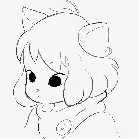 Анимация Милая нэко-девочка на белом фоне, by Shiva29