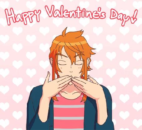 Анимация Рыжеволосый парень посылает воздушные поцелуи (Happy Valentines Day / Счастливого Валентинова Дня), by Flipfloppery