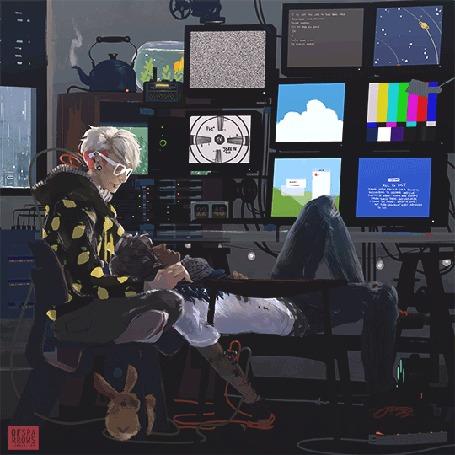 Анимация Два парня сидят перед мониторами
