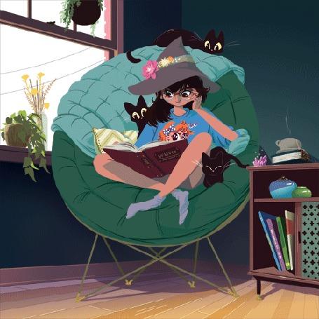 Анимация Девушка в шляпе ведьмы сидит в кресле и листает книгу