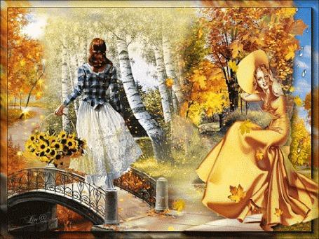 Анимация Девушка - осень вступает в свои права и провожает уходящую вдаль по мосту девушку-лето, (Прощай, лето!)