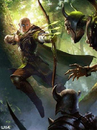 Анимация Эльф в лесу с заряженным луком сражается с двумя мертвецами
