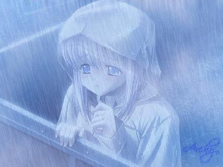 Анимация Анимешная девочка под дождем