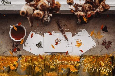 Анимация Цветы и чашка чая на мокром столе, плавно переходящим в осенний пейзаж, листопад, (Здравствуй Осень!), by Chloe
