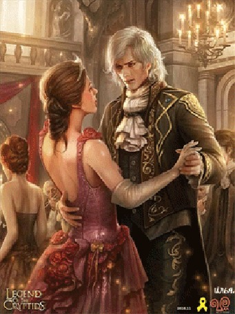 Анимация Молодая пара танцует вальс на балу, на котором присутствует множество гостей, иллюстрация к игре Legend of the Cryptids