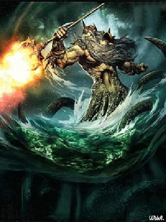 Анимация Бог морей Посейдон держит в правой руке трезубец, который извергает огонь