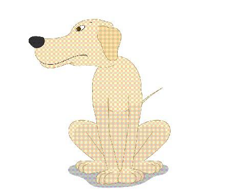 Анимация Смотрящий по сторонам пес сидит на белом фоне, by pedrozanin