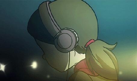 Анимация Девочка в наушниках качает головой в такт музыке, by Kare-Valgon