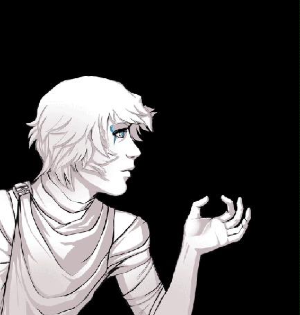 Анимация Парень в профиль дует на руку, by Eksafael