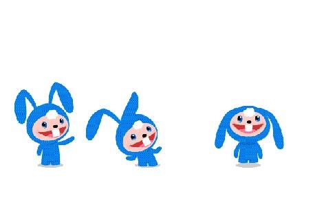 Анимация Прыгающие синие зайчики