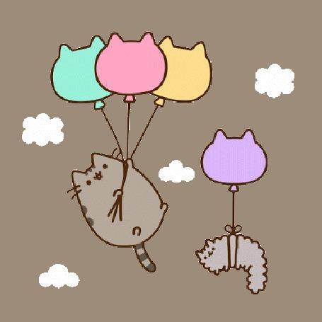 Анимация Кот Пушин / Pusheen спускается на землю на парашюте