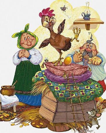 Анимация Иллюстрация к сказке и мультфильму Курочка ряба, дед и бабка любуются золотым яйцом