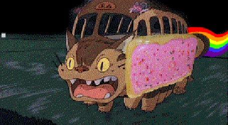 Анимация Гибрид Kittenbus / Котобуса из аниме Мой сосед Тоторо / My Neighbor Totoro и Nyan Cat / Нянкота
