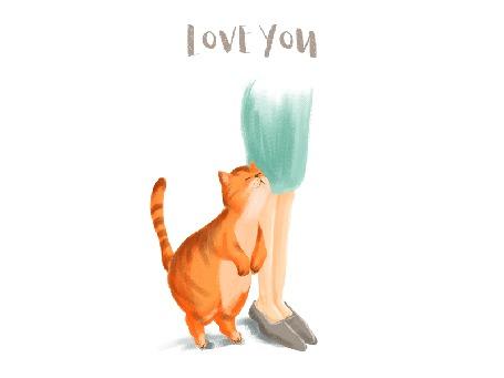 Анимация Кот ласково трется о ноги девушки (love you / люблю тебя), by sherryyu