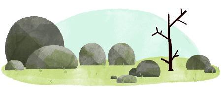 Анимация Камни любуются первыми весенними цветами на дереве, которые облетают от чиха одного из камней / зарисовка-заставка Google, by Nate Swinehart