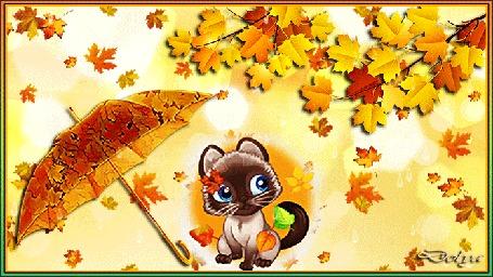 Анимация Котенок сидит под зонтиком, глядя на опавшие осенние листья, кружащие вокруг него, под дождем (Вот и осень пришла)