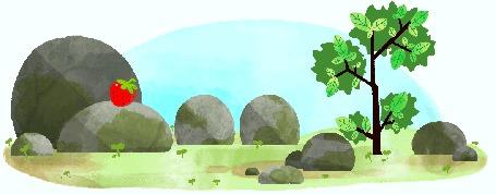 Анимация Камни наблюдают за белкой, которая прыгает по ним и по дереву зам клубникой / зарисовка-заставка Google, by Nate Swinehart