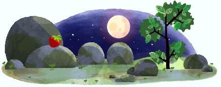 Анимация Камни пугают белку, которая ночью слезла с дерева за клубникой / зарисовка-заставка Google, by Nate Swinehart
