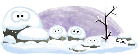 Анимация Камни дрожат от холода под падающим снегом / зарисовка-заставка Google, by Nate Swinehart