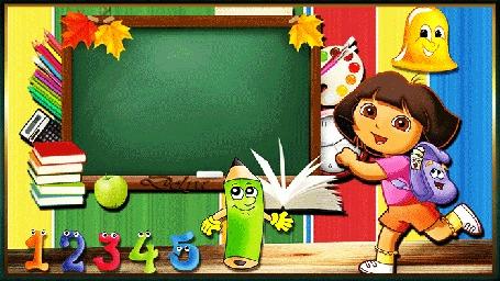 Анимация Даша-следопыт с ранцем спешит в школу на 1 сентября. На доске пишется приветствие. (Здравствуй, год учебный, новый.)