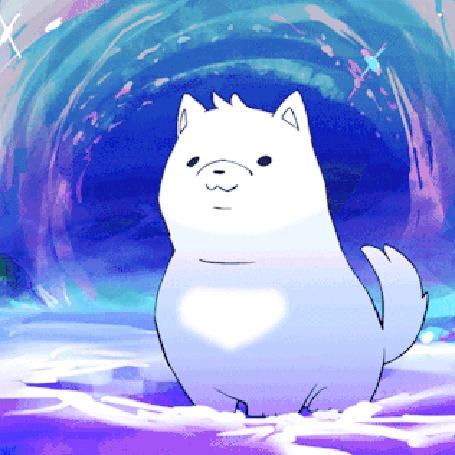 Анимация Белый щенок сидит в снегу и гавкает