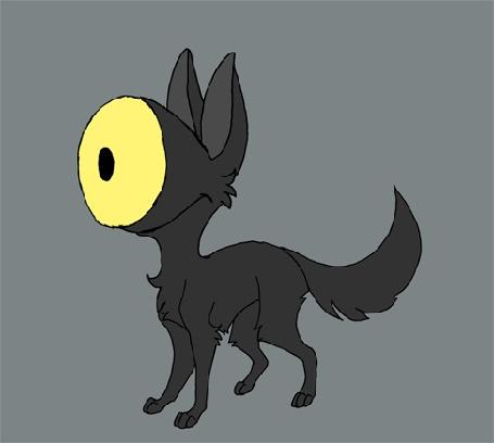 Анимация Исчезающий демонический черный пес-циклоп на сером фоне, by SwiftyXIII