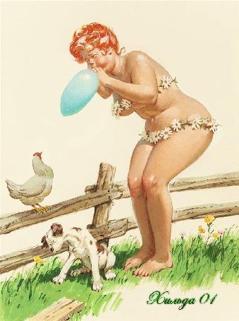 Анимация Толстушка Хильда надувает шарик у забора с курицей и щенком, художник Дуэйн Брайерс / Duane Bryers (Хильда 01)