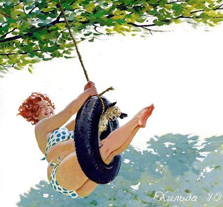 Анимация Толстушка Хильда со щенком качается на самодельных качелях из шины на веревке, привязанной к дереву, художник Дуэйн Брайерс / Duane Bryers (Хильда 10)