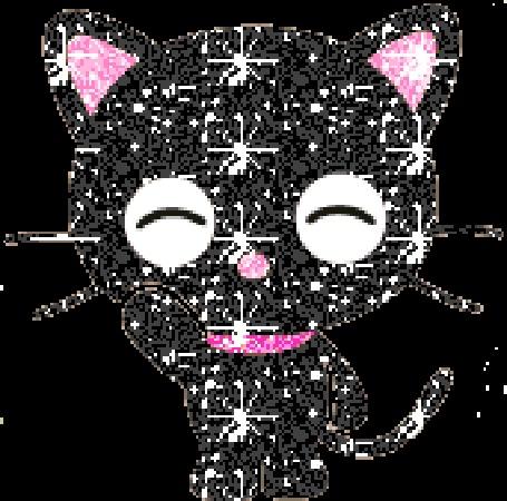 Анимация Блестящий черный котенок в розовом ошейнике, с розовыми ушками и носом