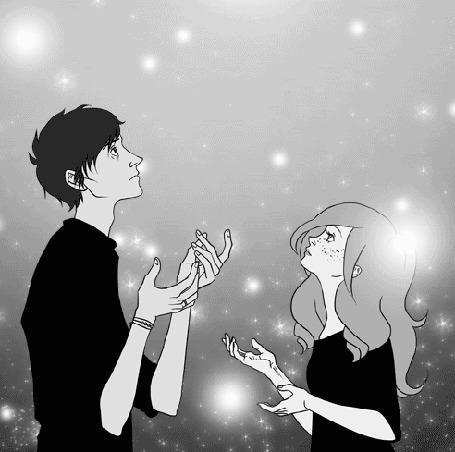 Анимация Парень и девушка смотрят вверх на фоне бликов, by Pennae