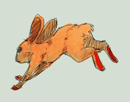 Анимация Бегущий рыжий кролик с красными лапами на сером фоне, by Sout