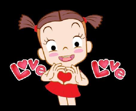 Анимация Девочка в красном платьице сложила руки сердечком (love / любовь)