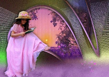 Анимация Милая девчушка в длинном розовом платье и соломенной шляпке читает книжку, рядом порхают бабочки