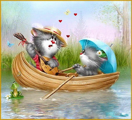 Анимация Кот поет серенаду кошке, плывя с ней в лодке