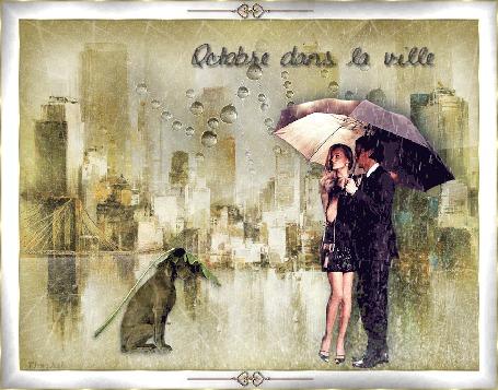 Анимация А в городе опять дожди: мужчина с девушкой стоят под зонтом, рядом сидит пес, прикрытый большим листом (Octobre dans la ville)