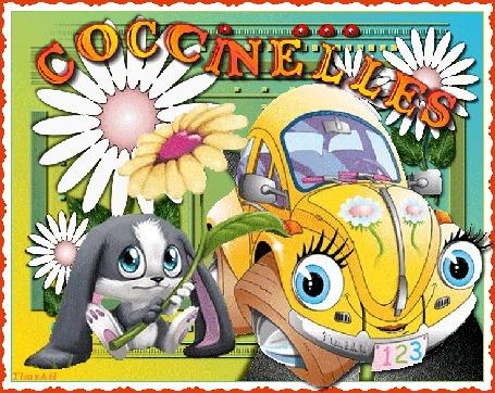 Анимация Машинка и кролик с ромашками (COCCINELLES)
