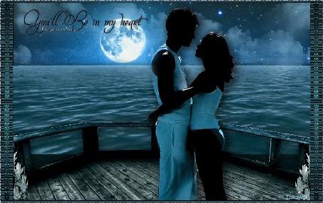 Анимация Влюбленные нежно обнимаются, стоя на корме корабля лунной ночью (You'll Be in my heart always / Ты будешь в моем сердце всегда)