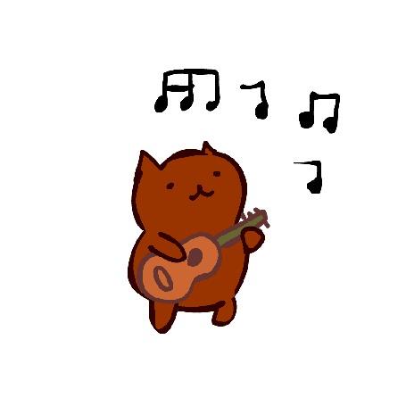 Анимация Прикольный котенок играет на гитаре