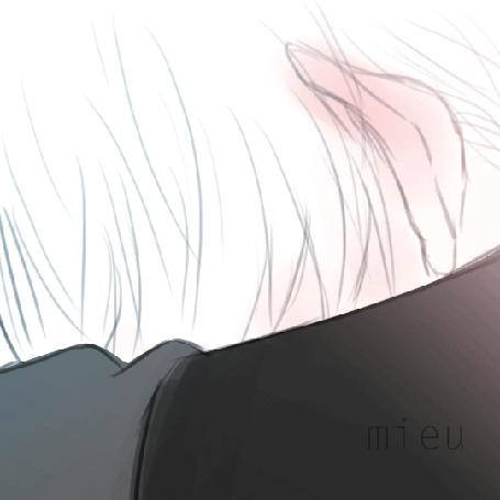 Анимация Парень альбинос с красновато-голубыми глазами мило улыбается, by mieulinhtu