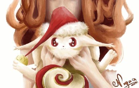 Анимация Девушка держит на руках Оканью - фамильяра из игры Элдария / Eldarya, которая говорит Nya / Okanya by Nagaia