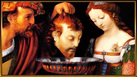 Анимация Мужчина держит над блюдом голову святого Иоанна Крестителя, рядом склонив голову стоит девушка