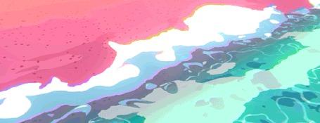 Анимация Морские волны накатывают на розовый берег